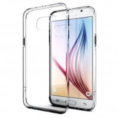 Galaxy S6 Case, Enther® [Ultimate Cushion] Slim Scratch / Dust Proof Hybrid Transparent Clear Case with Shock Absorb Trim Bumper (Clear)