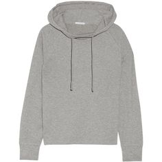 James Perse Cotton-blend jersey hooded top (930 BRL) ❤ liked on Polyvore featuring tops, hoodies, jumpers/hoodies, sweaters, grey hooded sweatshirt, high neck top, grey hoodie, hooded sweatshirt and hooded top