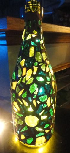 Blue Green Mosaic Wine Bottle Light