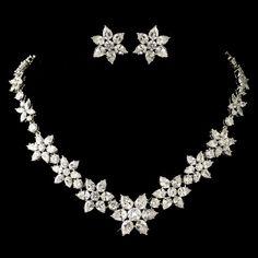 """Audrey Hepburn"" Rhodium Clear Pear & Round Cut Flower Snowflake CZ Crystal Jewelry Set 1574"