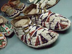 Native American moccasins Plains tribes 19th century.  Maryhill Museum of Art in Goldendale, Washington.