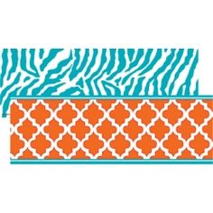 Wild Moroccan Double-Sided Border, Orange & Teal