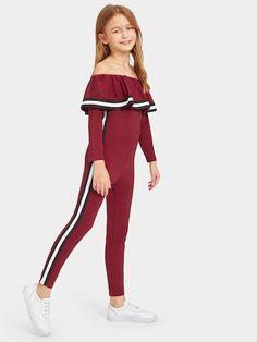 Shop Girls Flounce Off Shoulder Striped Tape Trim Jumpsuit online. SHEIN offers Girls Flounce Off Shoulder Striped Tape Trim Jumpsuit & more to fit your fashionable needs. Dresses Kids Girl, Kids Outfits Girls, Cute Girl Outfits, Cute Outfits For Kids, Cute Casual Outfits, Stylish Outfits, Clothes For Kids, Girls Fashion Clothes, Tween Fashion