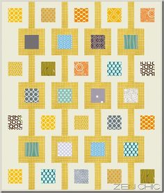 Quilt pattern tuerkis orange