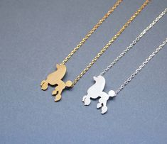 Lovely Poodle Dog pendant Necklace in GOLD / SILVER | GetSweetHJ - Jewelry on ArtFire