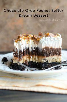Chocolate Oreo Peanut Butter Dream Dessert Dessert Dips, Dessert Parfait, Oreo Dessert, Chocolate Lasagna, Chocolate Desserts, Chocolate Oreo, Homemade Chocolate, Peanut Butter Dessert Recipes, Pudding Desserts