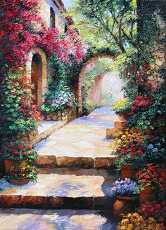 Paintings of Landscape, by Graham Denison - Palette Knife Artist. Beautiful Nature Wallpaper, Beautiful Paintings, Beautiful Landscapes, Scenary Paintings, Landscape Art, Landscape Paintings, Art Et Nature, Impressionist Art, Pretty Wallpapers