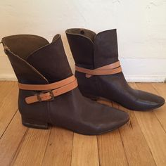 Brown boots from BCBGMaxAzria Bought these genuine leather boots vintage and have never used them. In very good condition looks like they haven't been used a lot. Beautiful soft leather and super cute on summer as winter. BCBGMaxAzria Shoes Ankle Boots & Booties