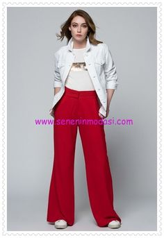 Vavist kırmızı dökümlü pantolon