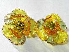 Clear Luctie and Rhinestone Floral Scarce Earrings - scarce find at www.BanglesandBeadsOnline.com
