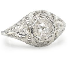 Art Deco Caress in a Diamond Filigree Ring - The Three Graces