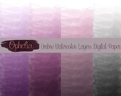Ombre watercolor digital paper-commercial and by Opheliafpg