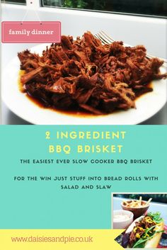 Slow cooker BBQ brisket - 2 ingredient slow cooker bbq brisket, fab for feeding a crowd and so easy and yum! | Daisies & Pie