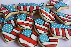 USA American patriotic Flag Cookies(red, white, & blue)