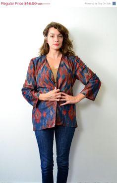 50% Off // Moving Sale // 1980s Aztec Shapes Lightweight Blazer // XL