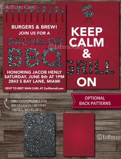 Bachelor invitation, Bachelor BBQ Invitation, Burgers  Brew - Join us for a Bachelor Barbecue! Keep Calm  Grill On, Bachelor Party Invitations - by LaBelleStudio, $10.00