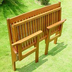 Trueshopping Convenient Folding Foldaway Two Seat Keruing Hardwood Wooden Bench Chair   Garden / Patio Furniture Mahogany Effect 1140mm x 630mm x 900mm