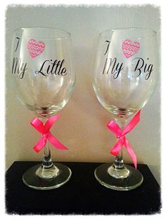 2 Wine Glasses I love my big I love my little sorority gift with chevron pink heart Perfect gift for any sorority girl! $18 https://www.etsy.com/listing/166368760/2-wine-glasses-i-love-my-big-i-love-my?ref=listing-shop-header-4