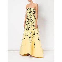 Oscar de la Renta sequinned flowers strapless gown ($13,897) ❤ liked on Polyvore featuring dresses, gowns, strapless sequin ball gown, strapless evening dresses, feather dresses, strapless sequin dress and beige gown