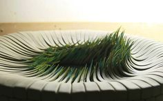 Inspired by forms of vegetation, Spanish artistAlberto Bustos pieces appear like blades of grass sprouting from the earth, stretching and curling upwards towards an imagined sun. At first glance the pieces look delicate enough to be paper, layered works that exude a dual sharp and fragile qual