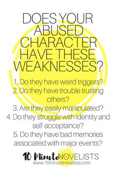 Does Your Abused Character Have These Weaknesses? By Katharine Grubb 10 Minute Novelist