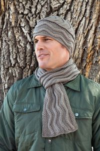 Knit with ultra soft merino wool, the hat and scarf will keep your handsome guy warm and toasty.