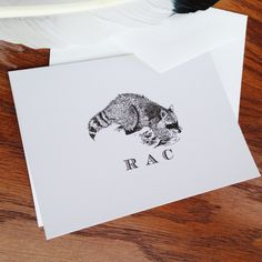 New to VeronicaFoleyDesign on Etsy: Raccoon Monogrammed Stationery Set of 10 - 300 printed on 100% cotton savoy custom stationery for kids or adults (18.00 USD)