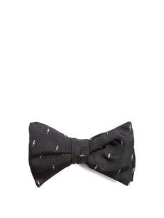 NEIL BARRETT Lightning bolt-jacquard silk bow tie. #neilbarrett #tie