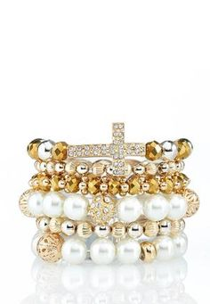 Cato Fashions 6 Piece Cross and Pearl Bracelet Set #CatoFashions