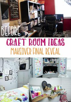 You'll love these Craft Room Ideas and the beautiful pictures of this craft room makeover. She takes it from dark and cluttered to airy and wow! Sewing Room Decor, Sewing Room Organization, Sewing Rooms, Craft Projects For Adults, Fun Projects, Craft Ideas, Creative Crafts, Fun Crafts, Craft Room Design