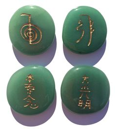 Personal size Reiki Stones© -The Original Reiki Symbol Stones!  Aventurine benefits one in all areas of creativity, and imagination, as well as intellect and mental clarity. Enhances prosperity and brings career success. It is a gentle stone energetically that gives a sense of calm and balance and enhances happiness.