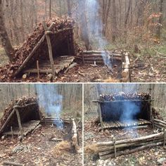 Completed the first stage of our lean-to's windbreak/heat reflector on our Survival Course.