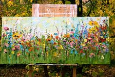 Large Oil Painting Landscape Abstract Landscape Impasto English Flowers Modern Kitchen Colorful Cust Garden Mural, Garden Art, Green Garden, English Flowers, Art Sur Toile, Fence Art, Art Moderne, Abstract Flowers, Landscape Paintings