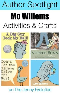 Willems Activities, Crafts and Author Spotlight Mo Willems Spotlight: Crafts, Activities & Books Round-Up on The Jenny Evolution Mo Willems Spotlight: Crafts, Activities & Books Round-Up on The Jenny Evolution Preschool Books, Kindergarten Literacy, Early Literacy, Kindergarten Library Lessons, Preschool Reading Activities, Sequencing Activities, Preschool Ideas, Summer Activities, Teaching Ideas