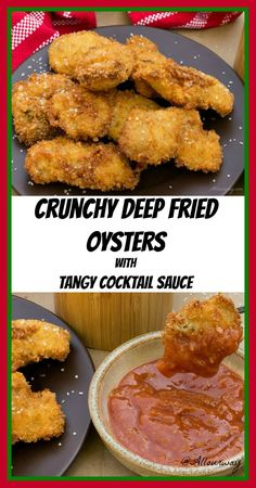 Crunchy Deep Fried Oysters With Cocktail Sauce Crunchy Panko Deep Fried Oysters With Tangy Cocktail Dipping Sauce Recipes Allourway Com Seafood Dishes, Fish And Seafood, Seafood Recipes, Appetizer Recipes, Cooking Recipes, Appetizers, Crab Dishes, Shellfish Recipes, Cajun Recipes