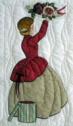 Mujer antiguo sombrero flores