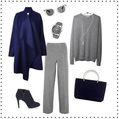 How to wear gray – choose color combinations and ensembles - A very chic combination with dark blue