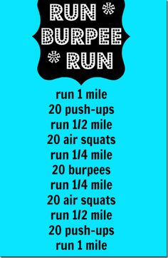 Two of your favorite things in one workout: burpees and running!