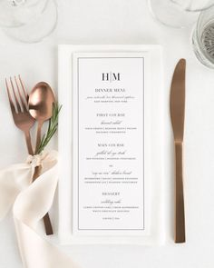 Wedding Design Glam Monogram Wedding Menus - Compliment your wedding reception with these timeless wedding menus. Matches our Glam Monogram suite. Perfect for wrapping in a napkin or placing on the center of plate. Wedding Dinner Menu, Wedding Menu Cards, Wedding Stationary, Wedding Programs, Wedding Table, Simple Wedding Menu, Wedding Buffet Menu, Wedding Wishes, Wedding Gifts