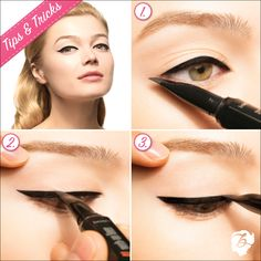 Pointing the they're real! liner tip  from the outer corner of the eye toward the brow creates a wing that's the perfect length and angle #benefitcosmetics #realfineliner