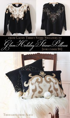 Thoughts from Alice: Glam Christmas Throw Pillows {Holiday Thrift Store Challenge}
