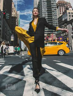Model Flavia Lucini is styled in colorful, dramatic modern looks by Pablo Patane. Photographer Elio Nogueira flashes the metropolitan fashion scene for Harper's Bazaar Hong Kong May Hair by Jerome Cuitrera; makeup by Victor Noble