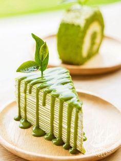 Matcha cake and mint tea - Torta millerighe al tè Matcha e menta: un dessert letteralmente strepitoso, bellissimo da presentare sulla tavola e raffinato, con genuino tè verde.
