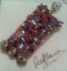 Colgante cobre y cristal. Diseño propio. Rosa Blanca.