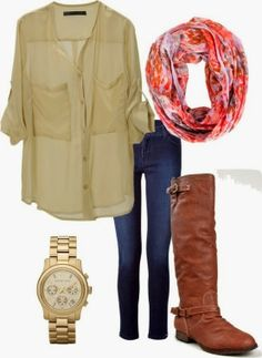 Fall Outfit With Chiffon Shirt,Long Boots and Infinity Scarf