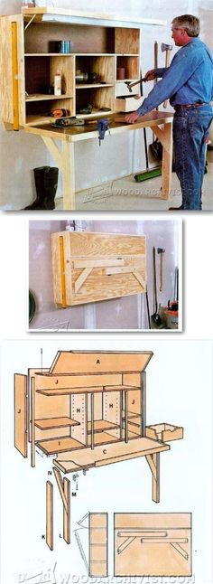 Fold Down Workbench Plans - Workshop Solutions Projects, Tips and Tricks - Woodwork, Woodworking, Woodworking Plans, Woodworking Projects Woodworking Projects Diy, Woodworking Bench, Woodworking Workshop, Woodworking Classes, Shop Organization, Workbench Plans, Home Projects, Diy Furniture, How To Plan