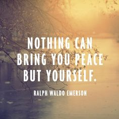 """""""Nothing can bring you peace but yourself."""""""