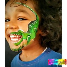 Boys firm favourite - dinosaur face painting by Glitter-Arty Face Painting, Bedford Bedfordshire