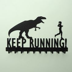 Keep Running Medals Rack with Woman - Free USA Shipping | knobcreekmetalarts - Metal Craft on ArtFire