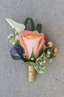 Groom's Boutonniere: Peach Rose, Coral Hypericum Berries, White Calla Lily, White Wax Flower, Lily Grass with Glitter Gold and Navy Details // Celebration Flair Boutonnieres, Groom Boutonniere, Coral Boutonniere, Prom Flowers, Wax Flowers, Wedding Flowers, Floral Wedding, Wedding Colors, White Wax Flower